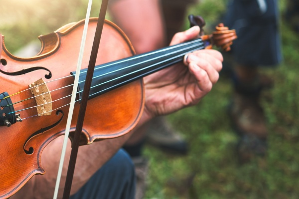 Violin played outdoors